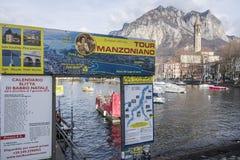Il lago Como e la città osservano, manzoniano di giro, TR turistico culturale Immagine Stock Libera da Diritti