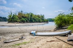 Il lago dei sogni, un piccolo ma bello porto di pesca situato nel bacino idrico di Wushantou, Guantian, Tainan, Taiwan sta inarid fotografie stock libere da diritti