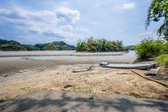 Il lago dei sogni, un piccolo ma bello porto di pesca situato nel bacino idrico di Wushantou, Guantian, Tainan, Taiwan sta inarid fotografia stock