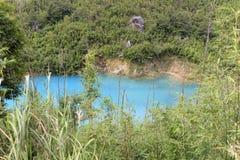Il lago di qicai che mostra colore sconosciuto Fotografie Stock Libere da Diritti
