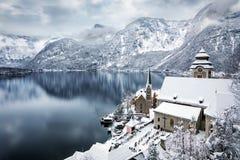 Il lago ed il villaggio di Hallstatt, Austria Immagine Stock Libera da Diritti