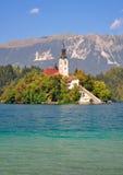Il lago ha sanguinato, alpi di Julian, Slovenia Immagini Stock Libere da Diritti