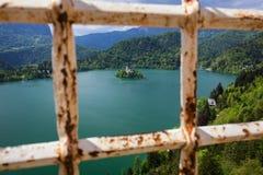 Il lago ha sanguinato con la chiesa della st Marys del presupposto sulla piccola isola Sanguinato, la Slovenia, Europa La chiesa  fotografia stock libera da diritti