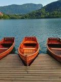 Il lago ha sanguinato le barche di legno della Slovenia Immagine Stock Libera da Diritti