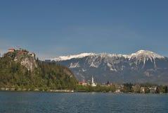 Il lago, il castello e le alpi Fotografia Stock Libera da Diritti