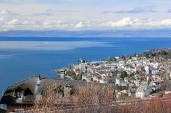 Il lago Lemano da Montreux, Svizzera Immagine Stock
