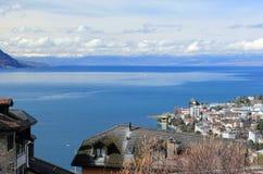 Il lago Lemano da Montreux, Svizzera Immagine Stock Libera da Diritti