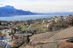Il lago Lemano da Montreux, Svizzera Fotografia Stock