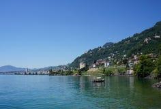 Il lago Lemano e la città di Montreux, Svizzera Immagine Stock Libera da Diritti