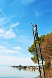 Il lago Lemano, Montreaux, la Svizzera e statua sulla scala Fotografia Stock Libera da Diritti