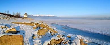 Il lago Liptovska Mara nell'inverno Fotografia Stock