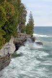 Il lago Michigan fluttua lungo il litorale Fotografia Stock
