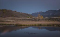 Il lago mountain su un fondo del paesaggio e della neve di autunno ha ricoperto le montagne Fotografie Stock