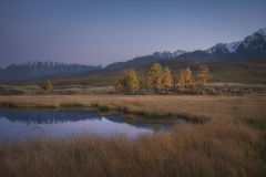 Il lago mountain su un fondo del paesaggio e della neve di autunno ha ricoperto le montagne Immagine Stock