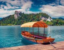 Il lago sanguinato (jezero di Blejsko) è un lago glaciale Immagini Stock Libere da Diritti