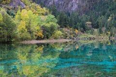 Il lago verde in montagne come uno specchio può mare il fondo Immagini Stock