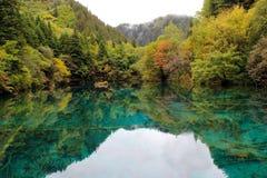 Il lago verde in montagne gradisce una riflessione perfetta dello specchio Immagine Stock