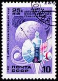 Il lancio della stazione interplanetaria automatica Mars-1, serie di giorno di cosmonautica, circa 1987 fotografia stock