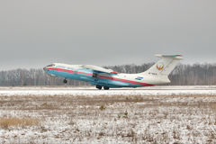 Il-76 landing. Gostomel, Ukraine - February 1, 2011: Tashkent Aircraft Production Corporation cargo plane Il-76 landing Royalty Free Stock Photo