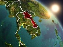 Il Laos da spazio durante l'alba Fotografia Stock Libera da Diritti