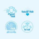 Il latte naturale con spruzza, progettazione delle icone Prodotto sano Immagini Stock Libere da Diritti