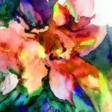 Il lavaggio bagnato di struttura esotica floreale del fiore del fondo dell'estratto di arte dell'acquerello ha offuscato la fanta Fotografia Stock Libera da Diritti