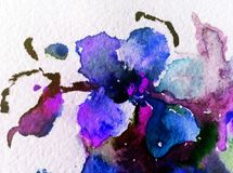 Il lavaggio bagnato di struttura esotica floreale del fiore del fondo dell'estratto di arte dell'acquerello ha offuscato la fanta Fotografia Stock
