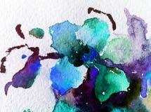 Il lavaggio bagnato di struttura floreale del fiore del fondo dell'estratto di arte dell'acquerello ha offuscato la fantasia Fotografie Stock