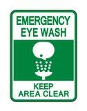 Il lavaggio dell'occhio tiene l'isolato del segno della radura di area su fondo bianco, illustrazione di vettore illustrazione di stock