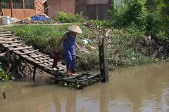 Il lavaggio della donna sulla riva del Mekong dentro può Fotografia Stock