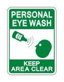 Il lavaggio personale dell'occhio tiene l'isolato del segno della radura di area su fondo bianco, illustrazione di vettore illustrazione di stock