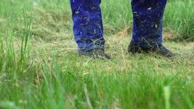 Il lavoratore del giardino taglia l'erba con un regolatore video d archivio