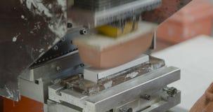 Il lavoratore fa funzionare la stampatrice del cuscinetto dell'etichetta archivi video