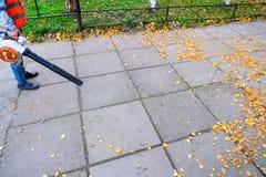 Il lavoratore manuale all'aperto pulisce le foglie cadute sulla strada dal ventilatore in autunno immagini stock