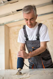 Il lavoratore ripara la porta in un'officina del ` s del carpentiere Fotografia Stock Libera da Diritti
