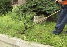 Il lavoratore taglia l'alta erba con un'erba industriale della guarnizione della benzina fotografia stock