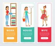 Il lavoro, casa, insegne della moglie l'elemento piano ha messo, del governo della casa e di vettore di lavoro domestico per il s Fotografia Stock Libera da Diritti
