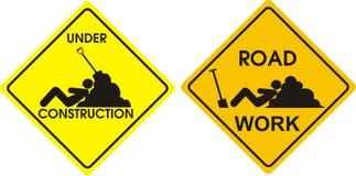 Il lavoro di strada e in costruzione e si distende Illustrazione di Stock