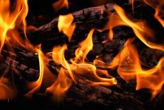 Il legno brucia su fuoco fotografie stock libere da diritti