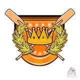 Il legno d'annata ha attraversato i remi per la rematura con la corona in mezzo alla corona dorata dell'alloro sullo schermo su b royalty illustrazione gratis