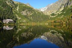 Il legno del parco di verde del cielo blu della natura della montagna si appanna il riflesso del lago piacevole Immagini Stock Libere da Diritti