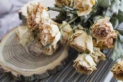 Il legno del taglio con le rose secche; rose asciutte su un albero del taglio immagini stock