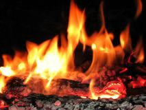 Il legno dell'incendio reale in si è sforzato Immagini Stock