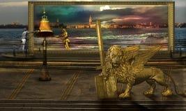 Il Leo dorato in terra alternativa Immagine Stock Libera da Diritti