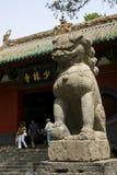 Il leone della pietra dell'entrata anteriore di Shaolin Temple fotografie stock libere da diritti