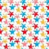 Il lerciume consumato variopinto stars le stampe il modello senza cuciture, vettore Fotografie Stock