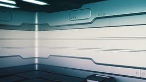 Il lerciume di fantascienza ha danneggiato il fondo metallico 3d del corridoio per rendere illustrazione di stock