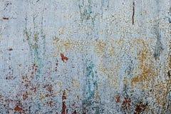 Il lerciume ha arrugginito struttura del metallo, fondo ossidato blu-grigio del metallo Vecchio pannello del ferro del metallo su immagini stock