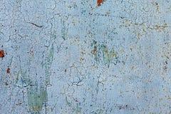Il lerciume ha arrugginito struttura del metallo, fondo del metallo ossidato blu Vecchio pannello del ferro del metallo Superfici immagini stock libere da diritti