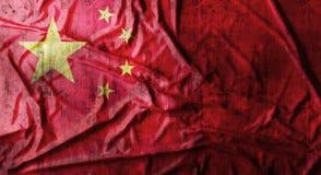 Il lerciume ha sgualcito la bandiera cinese rappresentazione 3d Fotografie Stock Libere da Diritti